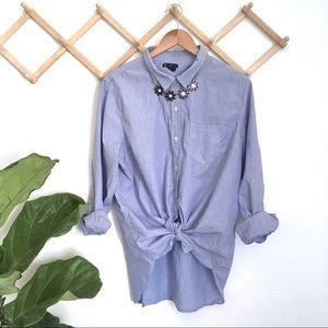 GAP blue poplin pinstripe boyfriend fit shirt